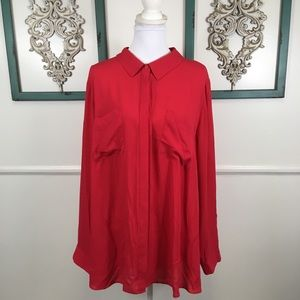 NEW Lane Bryant Red Sheer Button Down Blouse 26/28